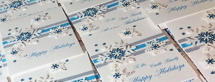 Corporate Christmas cards featuring White Christmas snowflake